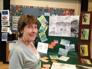 Dorothy, a Foundation Governor, admires the practice pieces